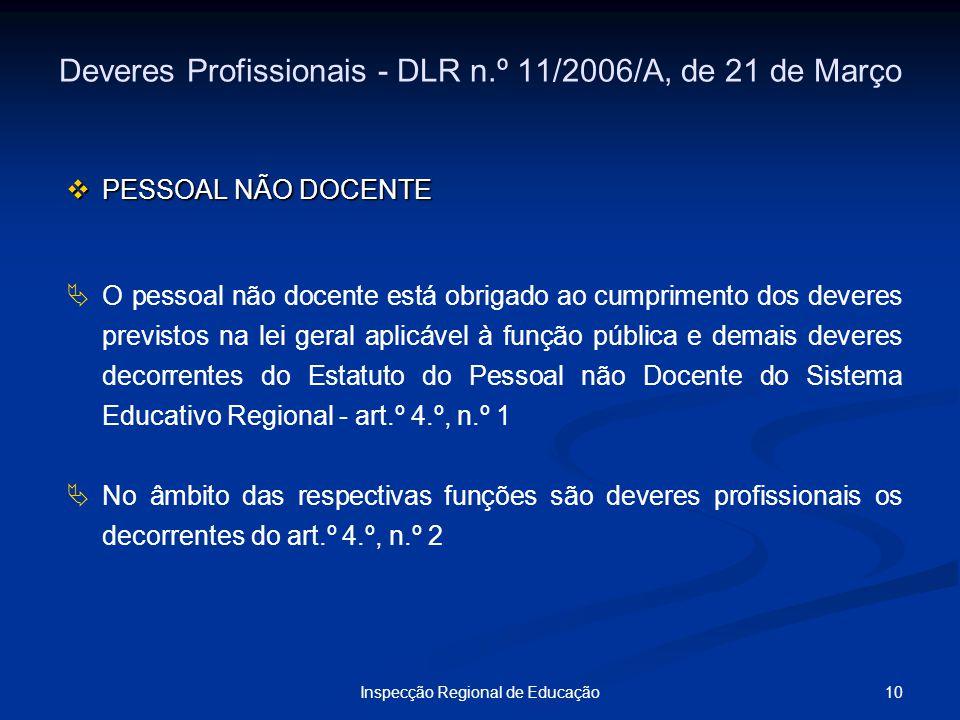 10Inspecção Regional de Educação Deveres Profissionais - DLR n.º 11/2006/A, de 21 de Março PESSOAL NÃO DOCENTE PESSOAL NÃO DOCENTE O pessoal não docen