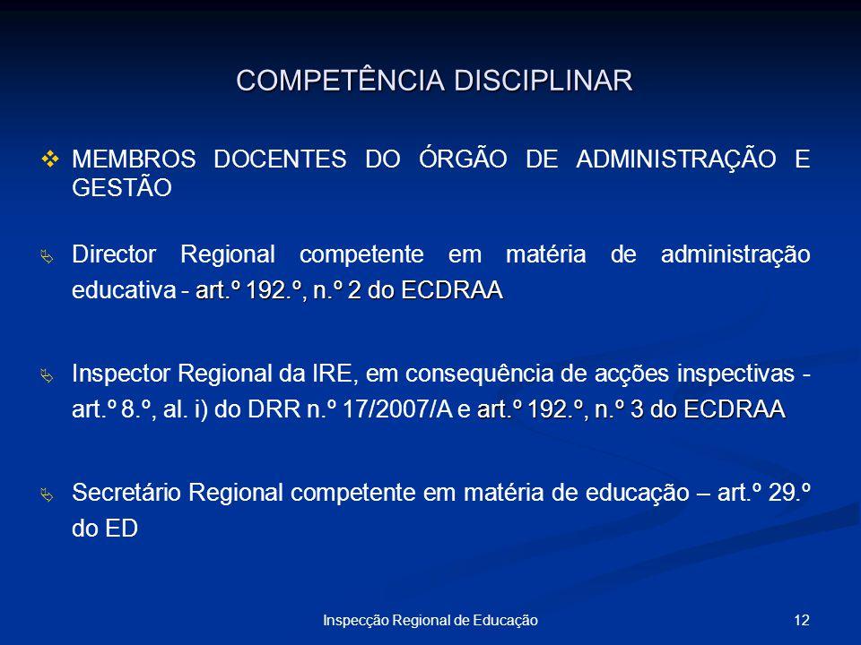 12Inspecção Regional de Educação COMPETÊNCIA DISCIPLINAR COMPETÊNCIA DISCIPLINAR MEMBROS DOCENTES DO ÓRGÃO DE ADMINISTRAÇÃO E GESTÃO art.º 192.º, n.º