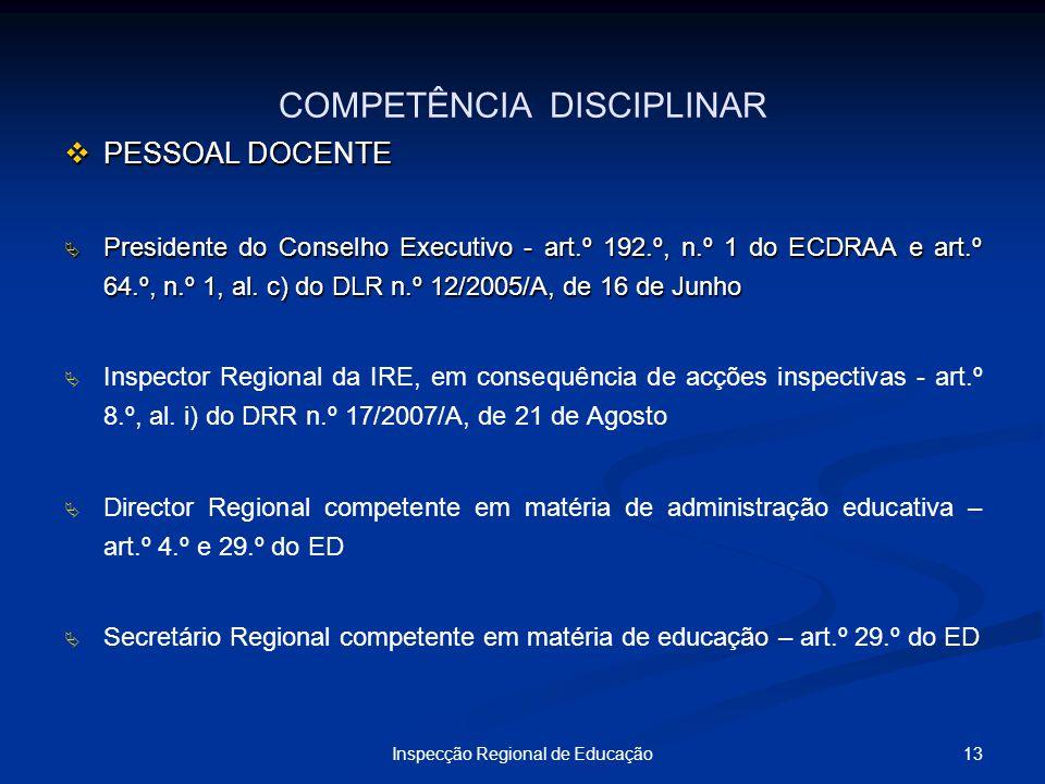13Inspecção Regional de Educação COMPETÊNCIA DISCIPLINAR PESSOAL DOCENTE PESSOAL DOCENTE Presidente do Conselho Executivo - art.º 192.º, n.º 1 do ECDR
