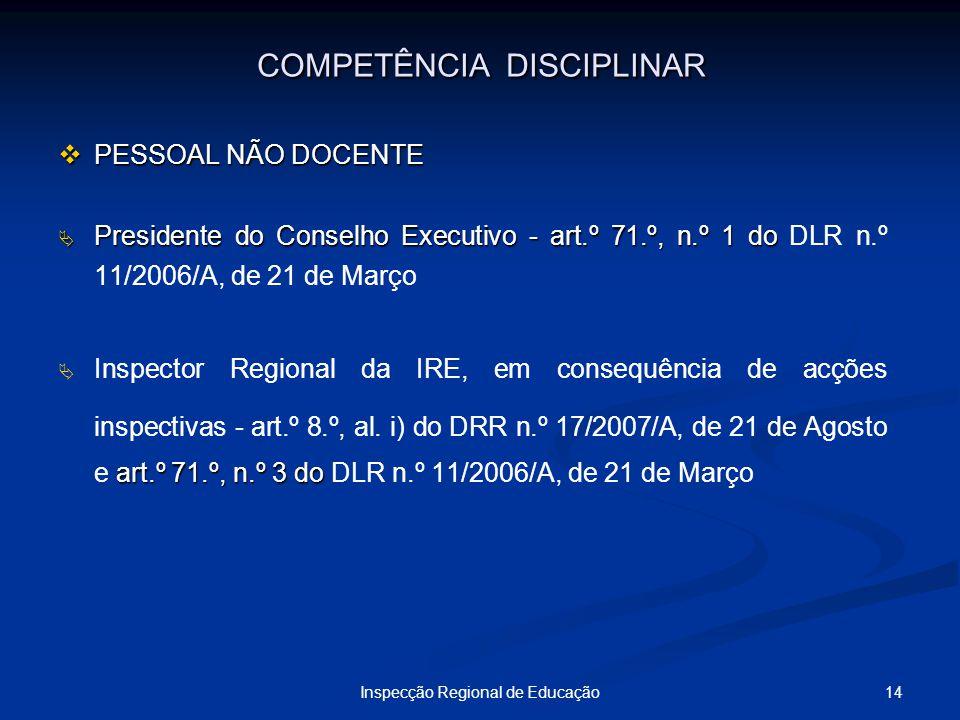 14Inspecção Regional de Educação COMPETÊNCIA DISCIPLINAR PESSOAL NÃO DOCENTE PESSOAL NÃO DOCENTE Presidente do Conselho Executivo - art.º 71.º, n.º 1