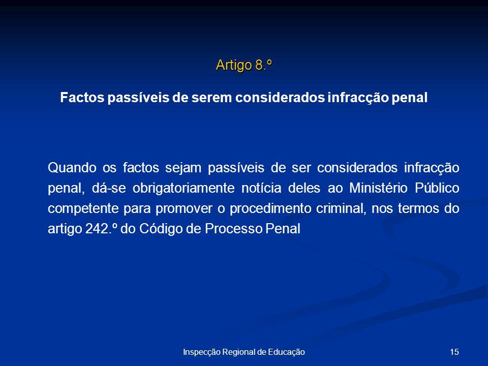 15Inspecção Regional de Educação Artigo 8.º Factos passíveis de serem considerados infracção penal Quando os factos sejam passíveis de ser considerado