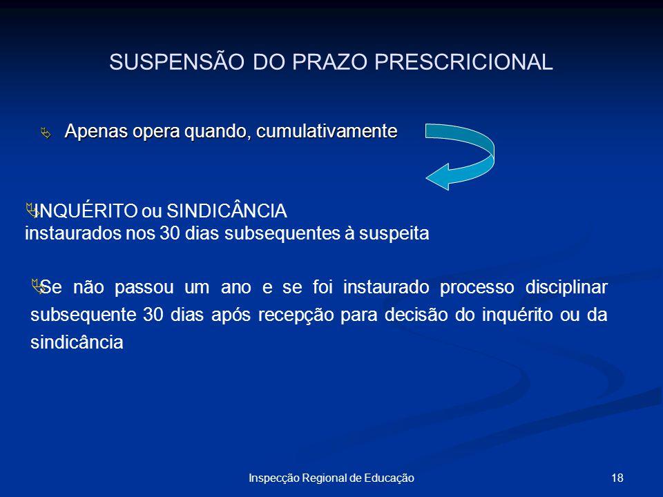 18Inspecção Regional de Educação SUSPENSÃO DO PRAZO PRESCRICIONAL Apenas opera quando, cumulativamente Apenas opera quando, cumulativamente INQUÉRITO