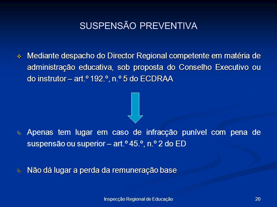 20Inspecção Regional de Educação SUSPENSÃO PREVENTIVA Mediante despacho do Director Regional competente em matéria de administração educativa, sob pro