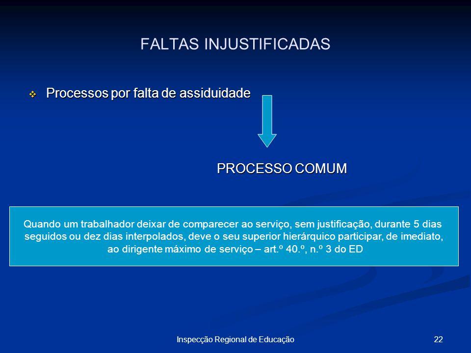22Inspecção Regional de Educação FALTAS INJUSTIFICADAS Processos por falta de assiduidade Processos por falta de assiduidade PROCESSO COMUM Quando um