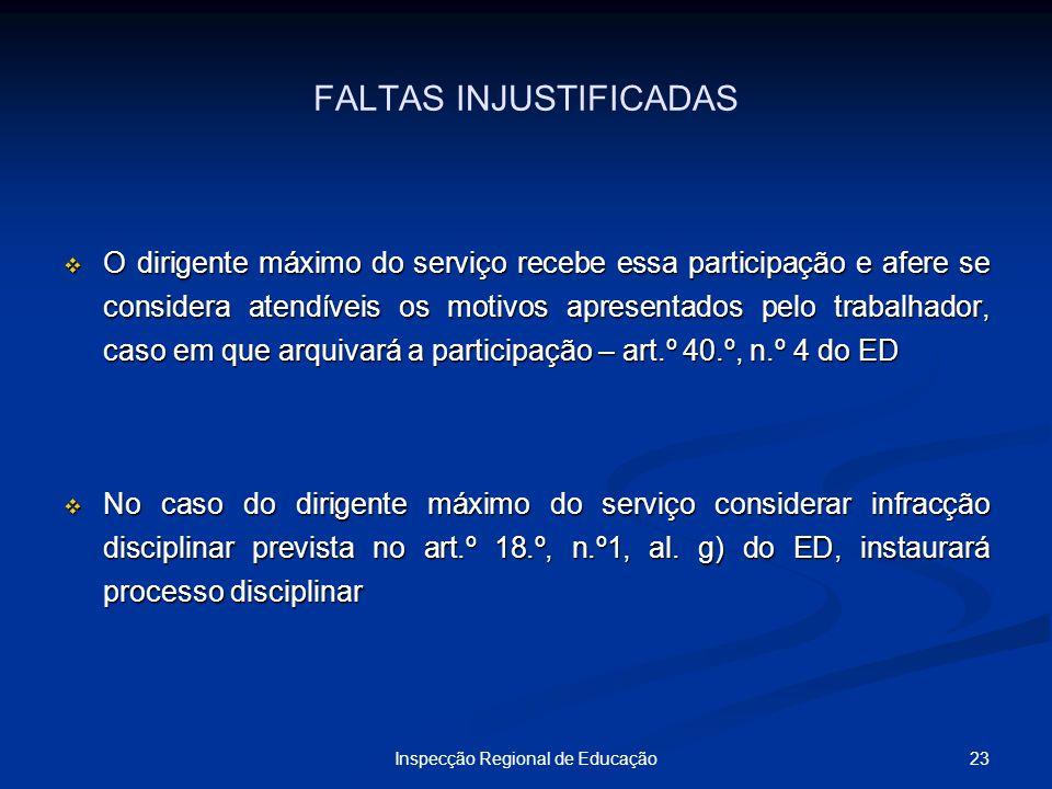 23Inspecção Regional de Educação FALTAS INJUSTIFICADAS O dirigente máximo do serviço recebe essa participação e afere se considera atendíveis os motiv