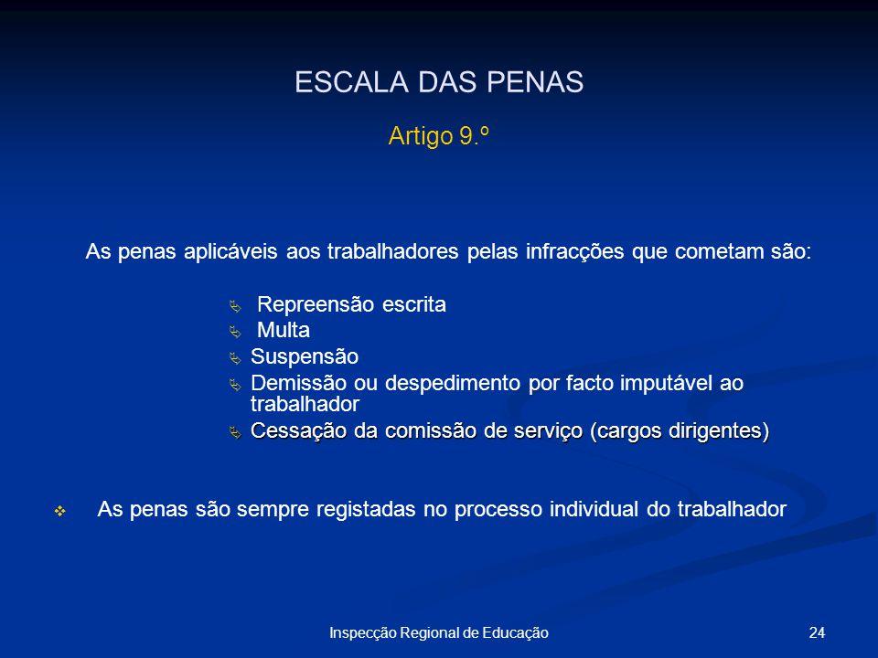 24Inspecção Regional de Educação ESCALA DAS PENAS Artigo 9.º As penas aplicáveis aos trabalhadores pelas infracções que cometam são: Repreensão escrit