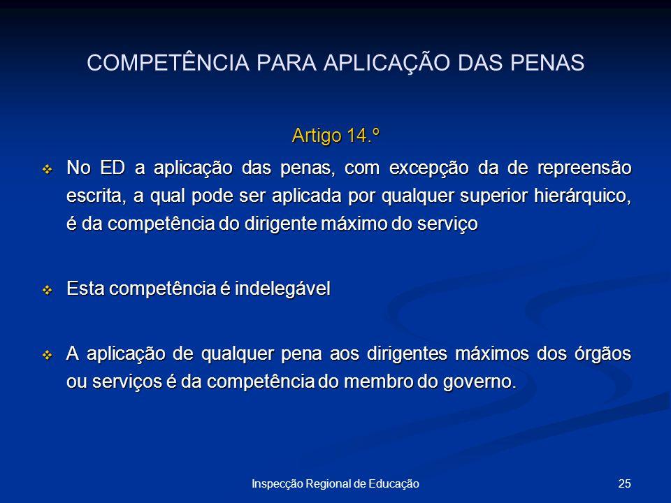 25Inspecção Regional de Educação COMPETÊNCIA PARA APLICAÇÃO DAS PENAS Artigo 14.º No ED a aplicação das penas, com excepção da de repreensão escrita,