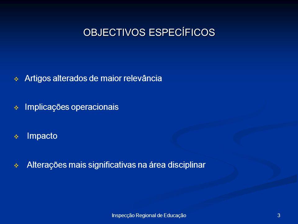 3Inspecção Regional de Educação OBJECTIVOS ESPECÍFICOS Artigos alterados de maior relevância Implicações operacionais Impacto Alterações mais signific