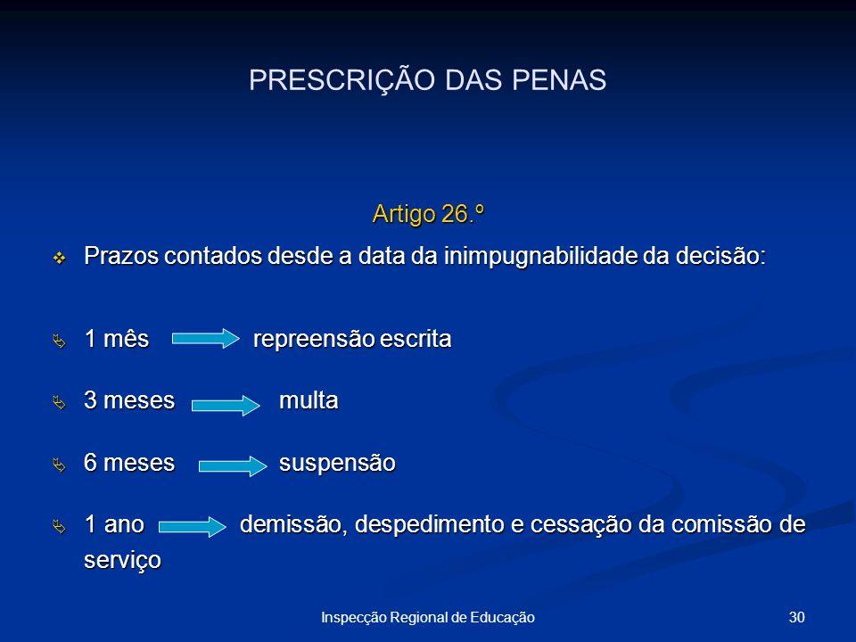 30Inspecção Regional de Educação PRESCRIÇÃO DAS PENAS Artigo 26.º Prazos contados desde a data da inimpugnabilidade da decisão: Prazos contados desde