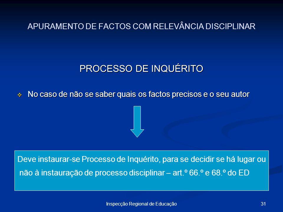 31Inspecção Regional de Educação APURAMENTO DE FACTOS COM RELEVÂNCIA DISCIPLINAR PROCESSO DE INQUÉRITO No caso de não se saber quais os factos preciso