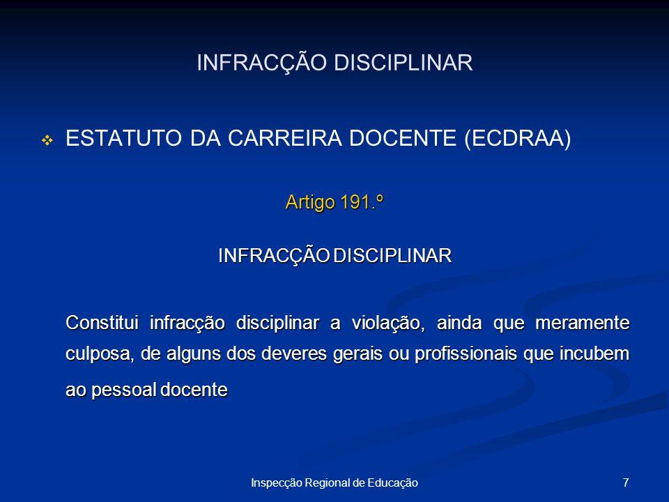 7Inspecção Regional de Educação INFRACÇÃO DISCIPLINAR ESTATUTO DA CARREIRA DOCENTE (ECDRAA) Artigo 191.º INFRACÇÃO DISCIPLINAR Constitui infracção dis