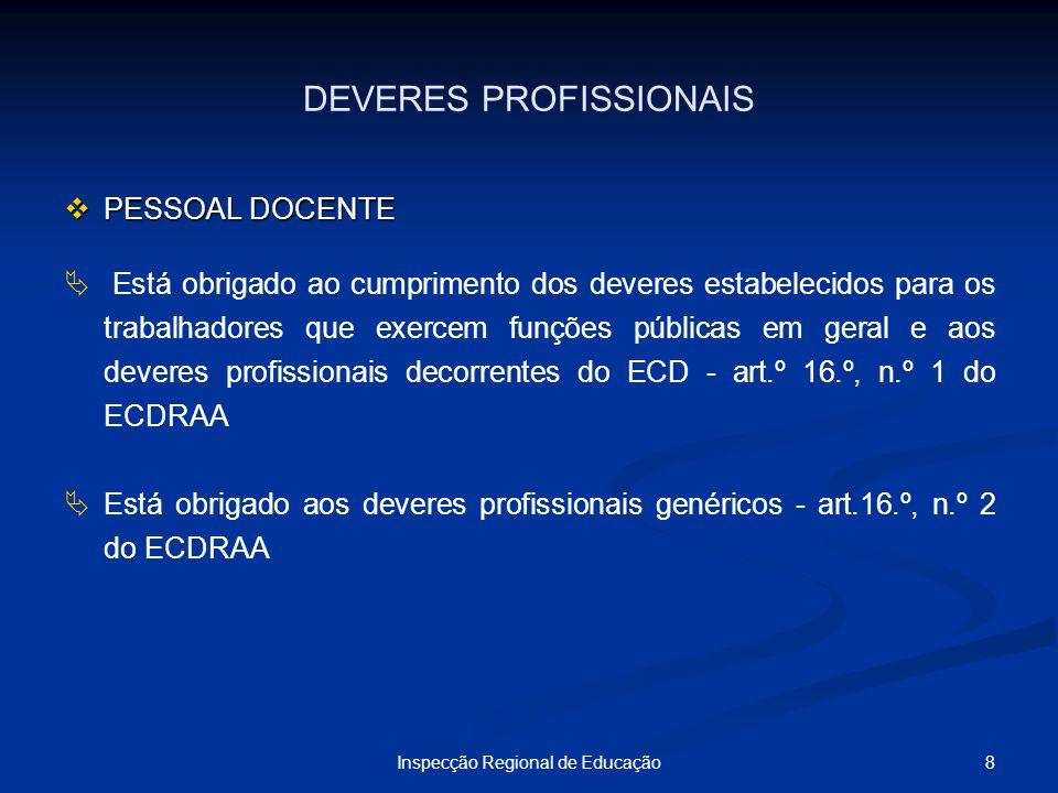 8Inspecção Regional de Educação DEVERES PROFISSIONAIS PESSOAL DOCENTE PESSOAL DOCENTE Está obrigado ao cumprimento dos deveres estabelecidos para os t