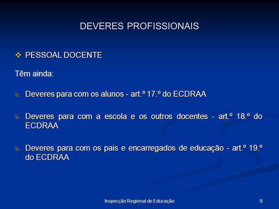 9Inspecção Regional de Educação DEVERES PROFISSIONAIS PESSOAL DOCENTE PESSOAL DOCENTE Têm ainda: Deveres para com os alunos - art.º 17.º do ECDRAA Dev