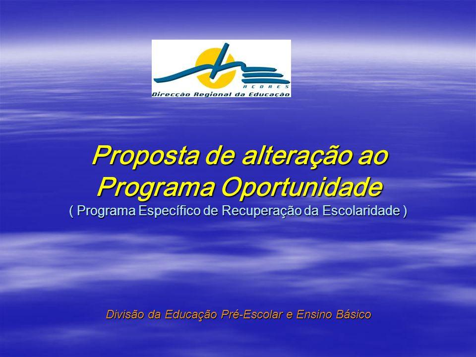 Proposta de alteração ao Programa Oportunidade ( Programa Específico de Recuperação da Escolaridade ) Divisão da Educação Pré-Escolar e Ensino Básico