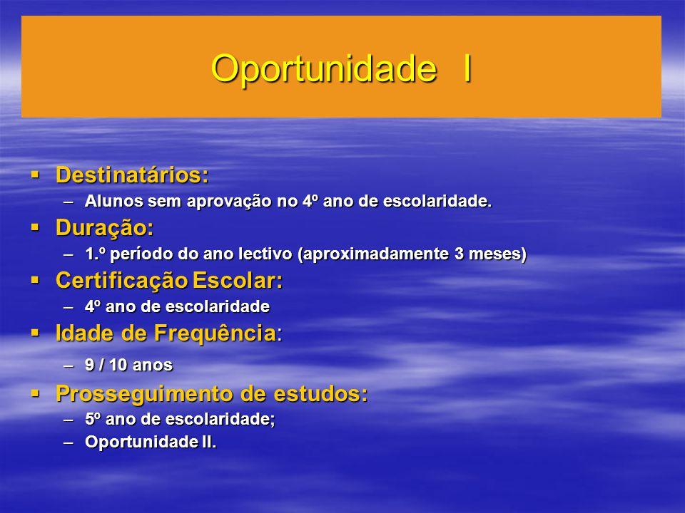 Oportunidade I Destinatários: Destinatários: –Alunos sem aprovação no 4º ano de escolaridade.
