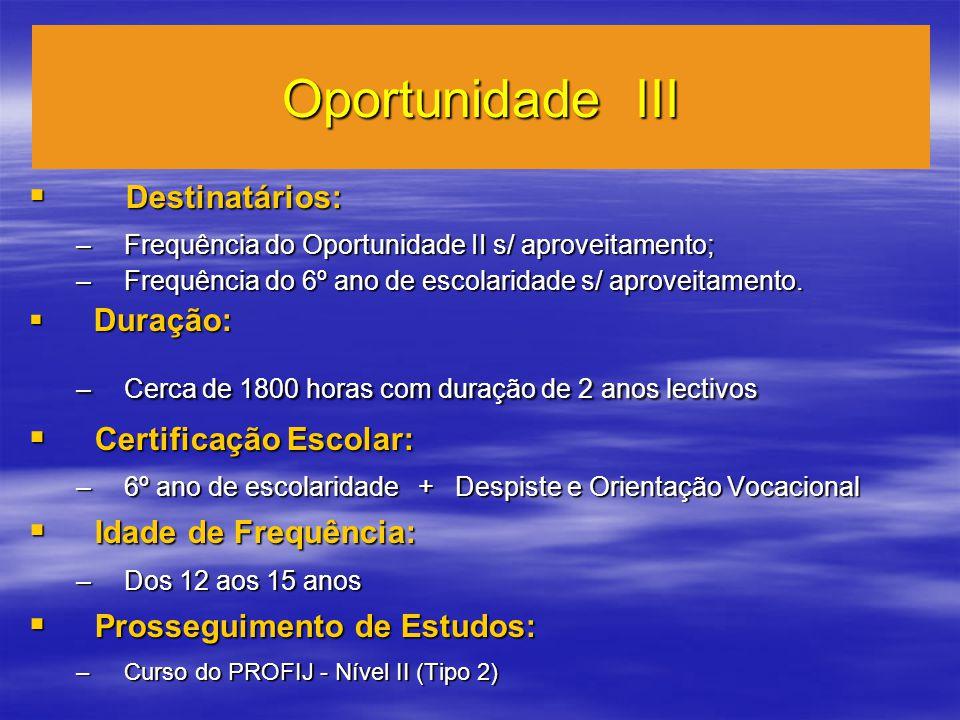 Oportunidade III Destinatários: Destinatários: –Frequência do Oportunidade II s/ aproveitamento; –Frequência do 6º ano de escolaridade s/ aproveitamento.