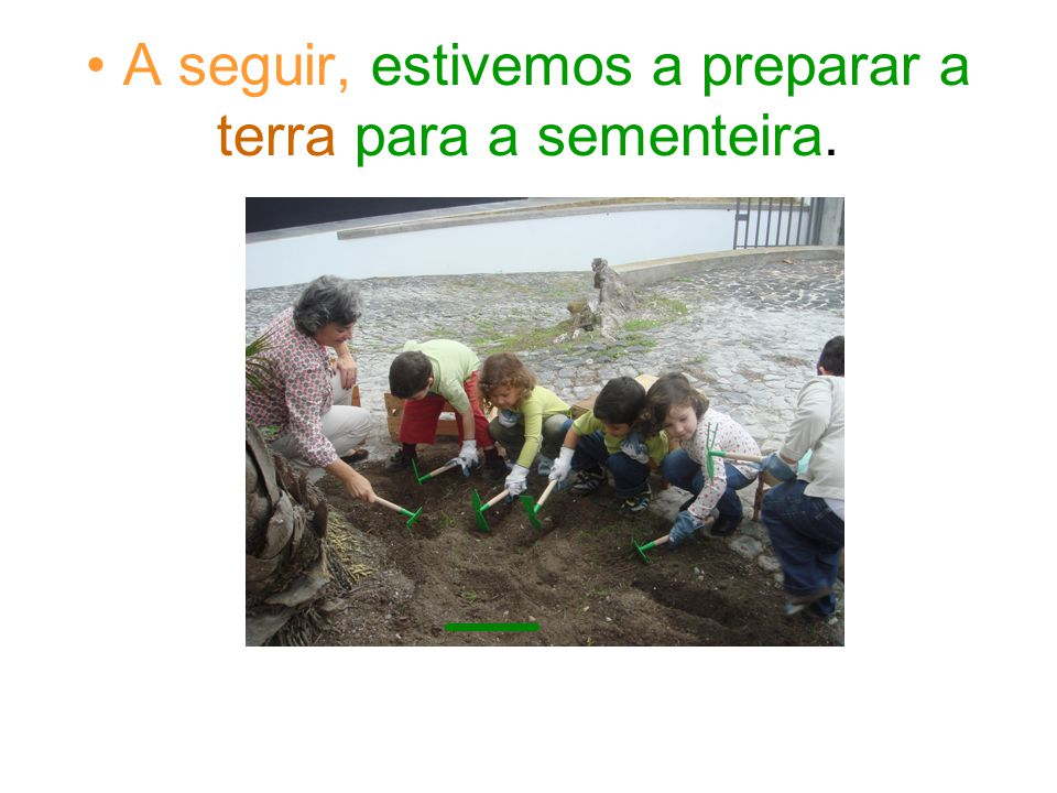 A seguir, estivemos a preparar a terra para a sementeira.