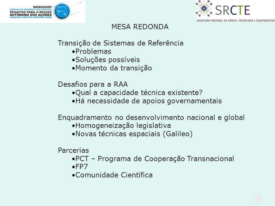 MESA REDONDA Transição de Sistemas de Referência Problemas Soluções possíveis Momento da transição Desafios para a RAA Qual a capacidade técnica existente.
