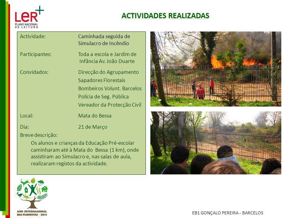 ACTIVIDADES REALIZADAS EB1 GONÇALO PEREIRA - BARCELOS Actividade: Caminhada seguida de Simulacro de Incêndio Participantes: Toda a escola e Jardim de