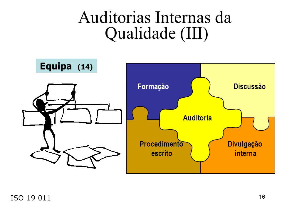 16 Procedimento escrito Auditoria Divulgação interna DiscussãoFormação Equipa (14) Auditorias Internas da Qualidade (III) ISO 19 011
