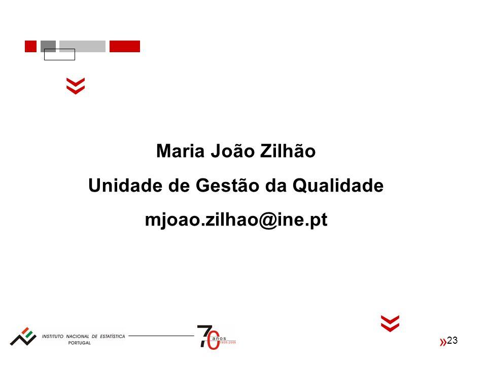 23 « « « Maria João Zilhão Unidade de Gestão da Qualidade mjoao.zilhao@ine.pt