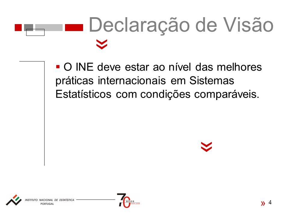 4 Declaração de Visão « O INE deve estar ao nível das melhores práticas internacionais em Sistemas Estatísticos com condições comparáveis.