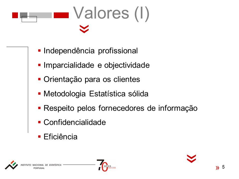 5 Valores (I) « Independência profissional Imparcialidade e objectividade Orientação para os clientes Metodologia Estatística sólida Respeito pelos fornecedores de informação Confidencialidade Eficiência « «