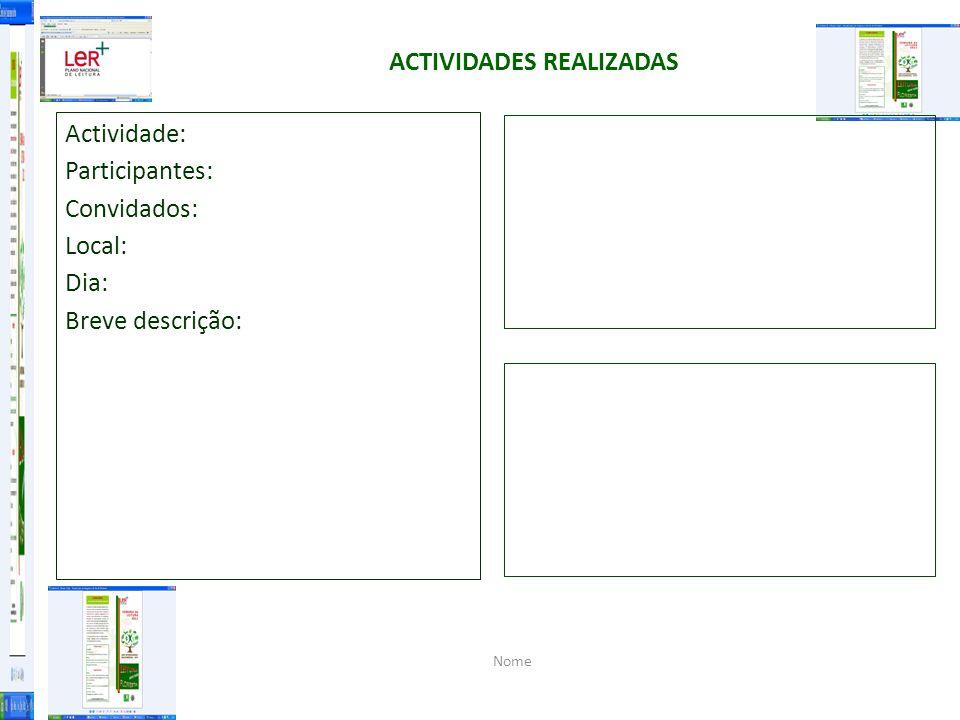 ACTIVIDADES REALIZADAS Actividade: Participantes: Convidados: Local: Dia: Breve descrição: Nome