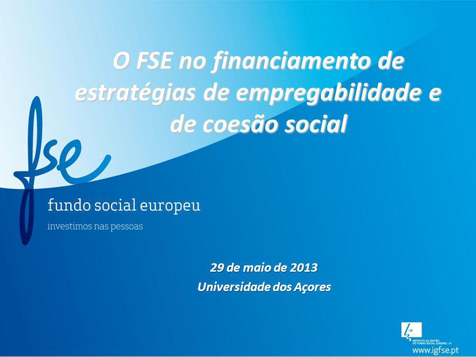 O FSE no financiamento de estratégias de empregabilidade e de coesão social 29 de maio de 2013 Universidade dos Açores