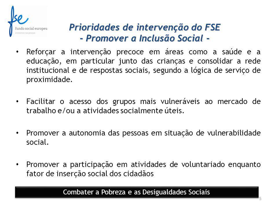 Prioridades de intervenção do FSE - Promover a Inclusão Social - Reforçar a intervenção precoce em áreas como a saúde e a educação, em particular junto das crianças e consolidar a rede institucional e de respostas sociais, segundo a lógica de serviço de proximidade.