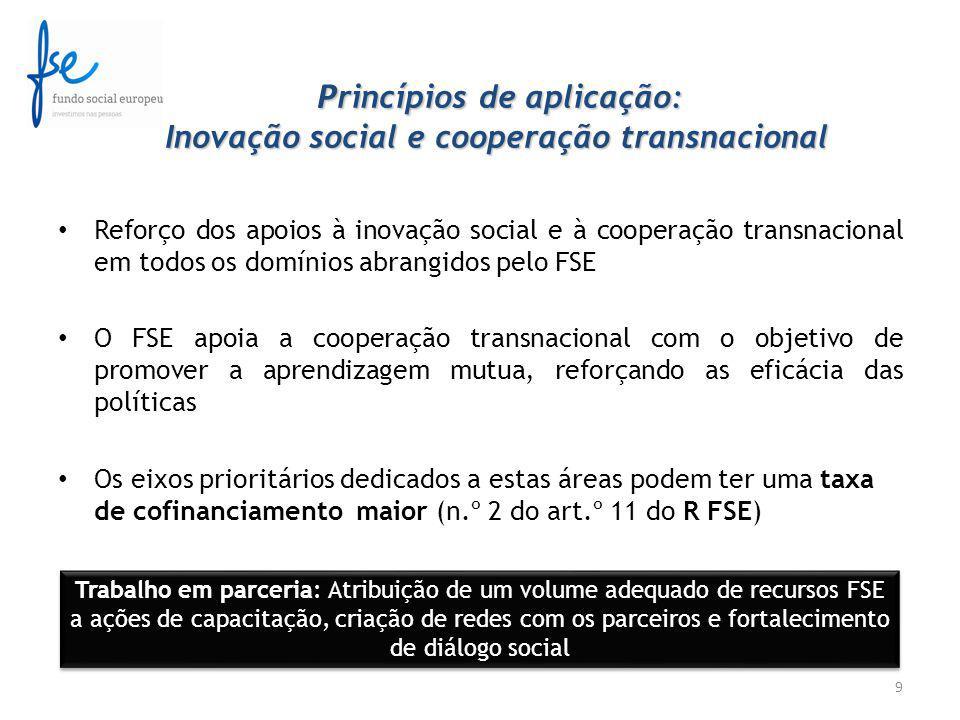 P rincípios de aplicação: Inovação social e cooperação transnacional P rincípios de aplicação: Inovação social e cooperação transnacional Reforço dos apoios à inovação social e à cooperação transnacional em todos os domínios abrangidos pelo FSE O FSE apoia a cooperação transnacional com o objetivo de promover a aprendizagem mutua, reforçando as eficácia das políticas Os eixos prioritários dedicados a estas áreas podem ter uma taxa de cofinanciamento maior (n.º 2 do art.º 11 do R FSE) 9 Trabalho em parceria: Atribuição de um volume adequado de recursos FSE a ações de capacitação, criação de redes com os parceiros e fortalecimento de diálogo social