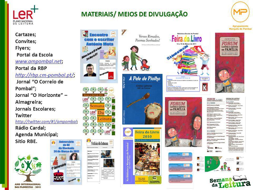 MATERIAIS/ MEIOS DE DIVULGAÇÃO Cartazes; Convites; Flyers; Portal da Escola www.ampombal.net; www.ampombal.net Portal da RBP http://rbp.cm-pombal.pt/;