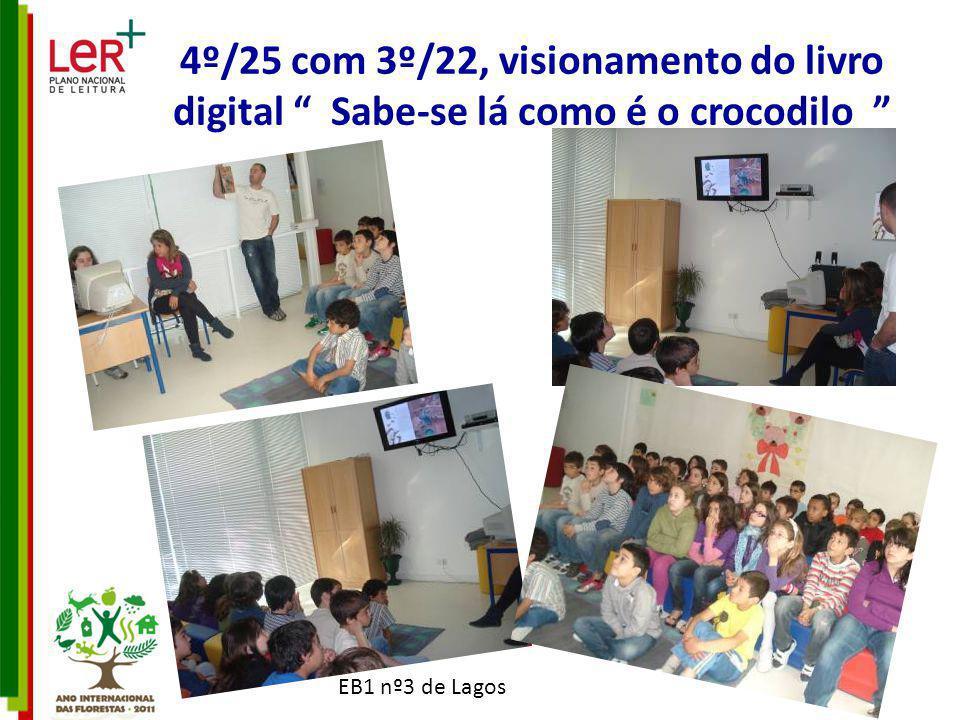 EB1 nº3 de Lagos 4º/25 com 3º/22, visionamento do livro digital Sabe-se lá como é o crocodilo