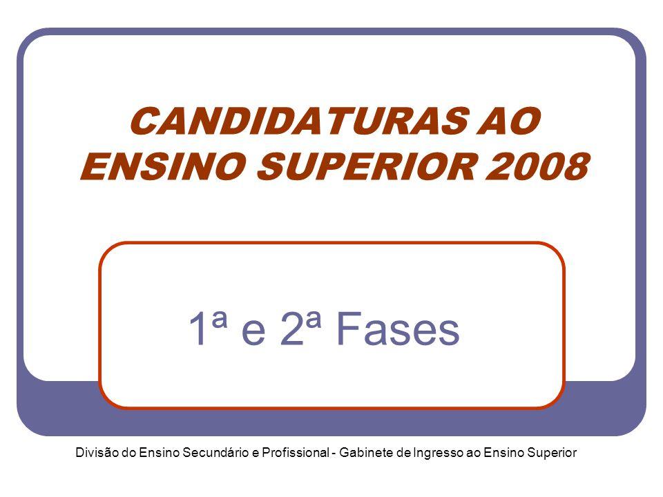 Divisão do Ensino Secundário e Profissional - Gabinete de Ingresso ao Ensino Superior CANDIDATURAS AO ENSINO SUPERIOR 2008 1ª e 2ª Fases