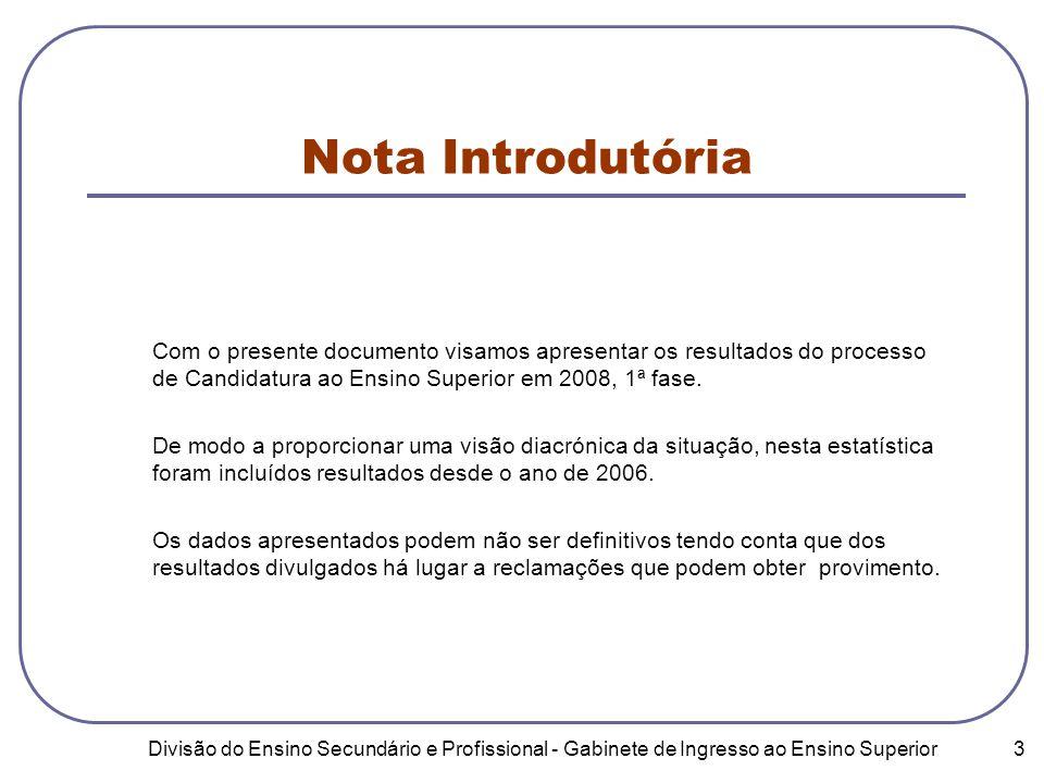 Divisão do Ensino Secundário e Profissional - Gabinete de Ingresso ao Ensino Superior 3 Nota Introdutória Com o presente documento visamos apresentar os resultados do processo de Candidatura ao Ensino Superior em 2008, 1ª fase.