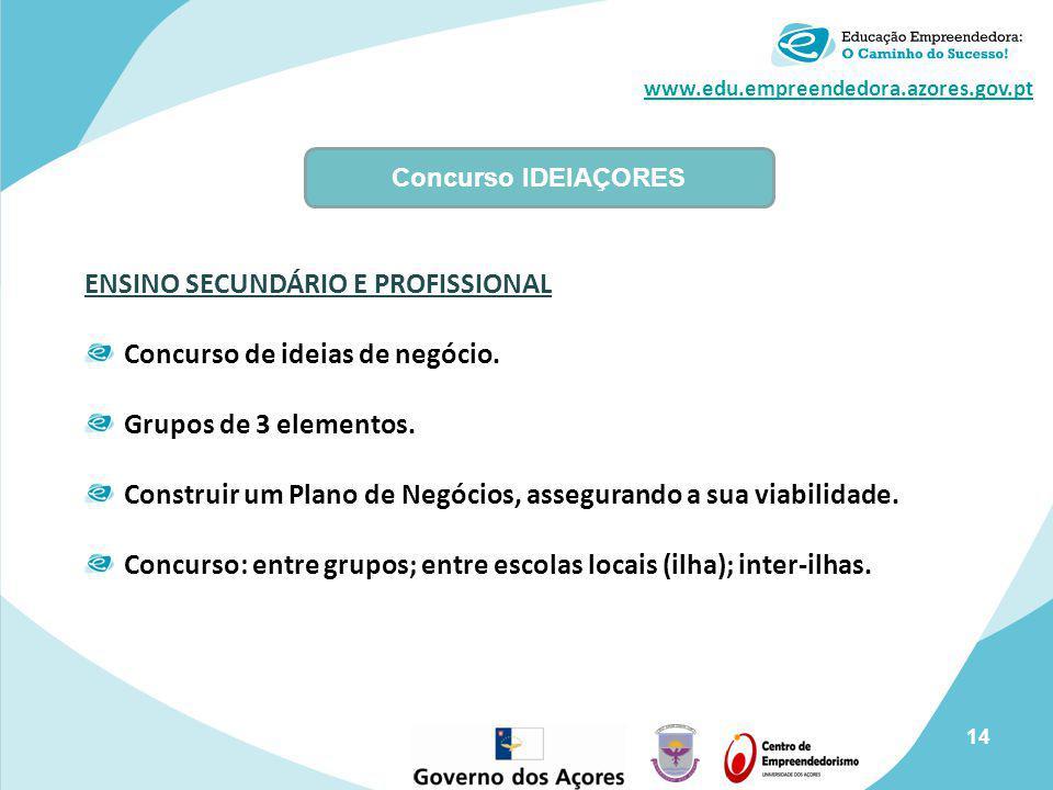 www.edu.empreendedora.azores.gov.pt Concurso IDEIAÇORES ENSINO SECUNDÁRIO E PROFISSIONAL Concurso de ideias de negócio. Grupos de 3 elementos. Constru