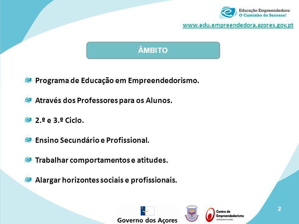 www.edu.empreendedora.azores.gov.pt Programa de Educação em Empreendedorismo. Através dos Professores para os Alunos. 2.º e 3.º Ciclo. Ensino Secundár