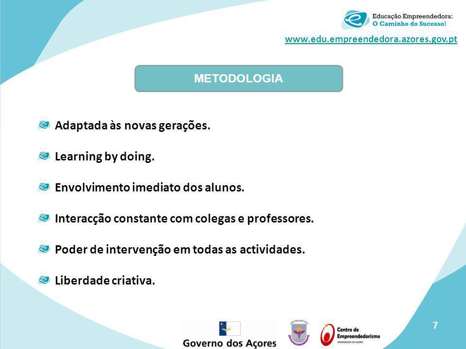 www.edu.empreendedora.azores.gov.pt Adaptada às novas gerações. Learning by doing. Envolvimento imediato dos alunos. Interacção constante com colegas