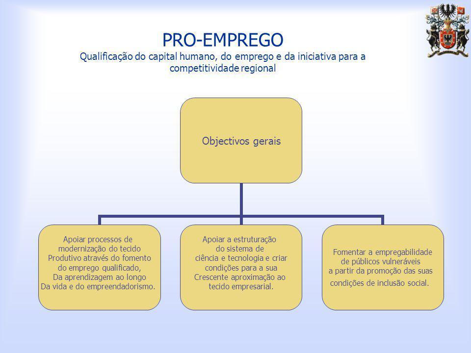 PRO-EMPREGO Qualificação do capital humano, do emprego e da iniciativa para a competitividade regional Objectivos gerais Apoiar processos de modernização do tecido Produtivo através do fomento do emprego qualificado, Da aprendizagem ao longo Da vida e do empreendadorismo.