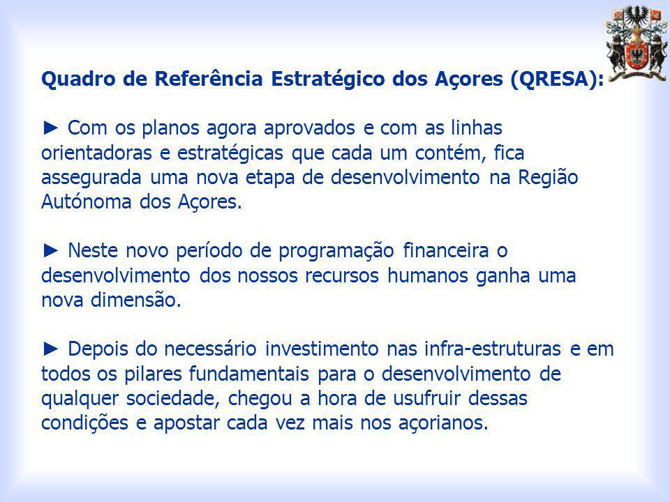 Quadro de Referência Estratégico dos Açores (QRESA): Com os planos agora aprovados e com as linhas orientadoras e estratégicas que cada um contém, fica assegurada uma nova etapa de desenvolvimento na Região Autónoma dos Açores.
