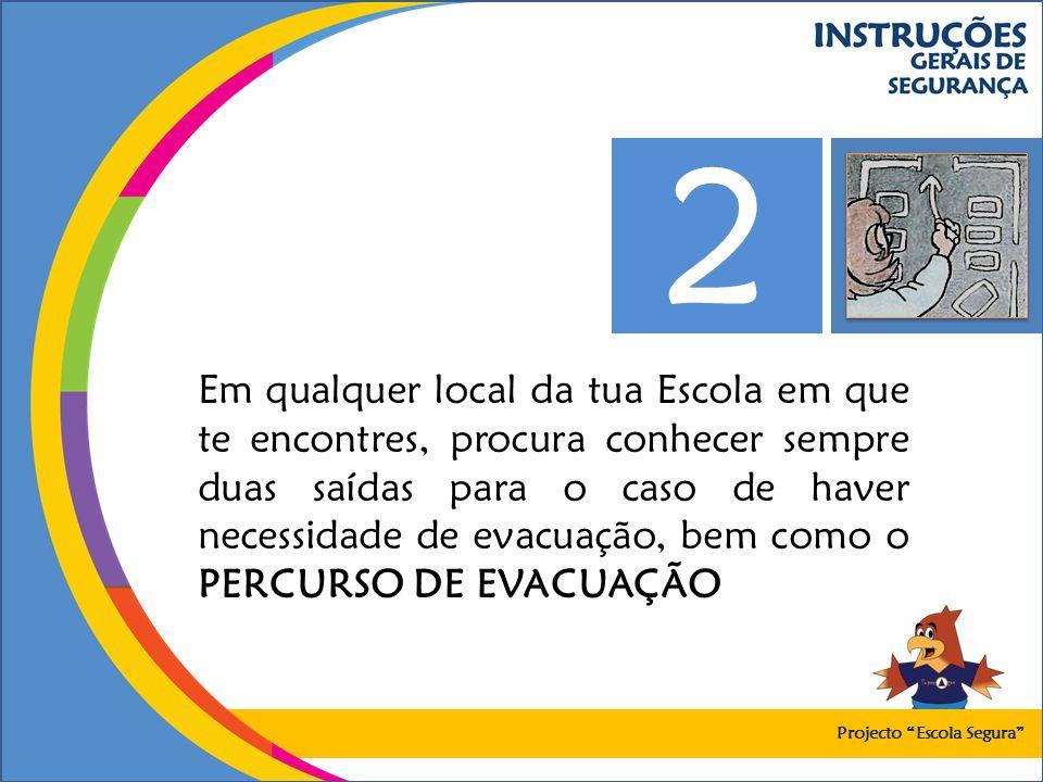 Em qualquer local da tua Escola em que te encontres, procura conhecer sempre duas saídas para o caso de haver necessidade de evacuação, bem como o PER