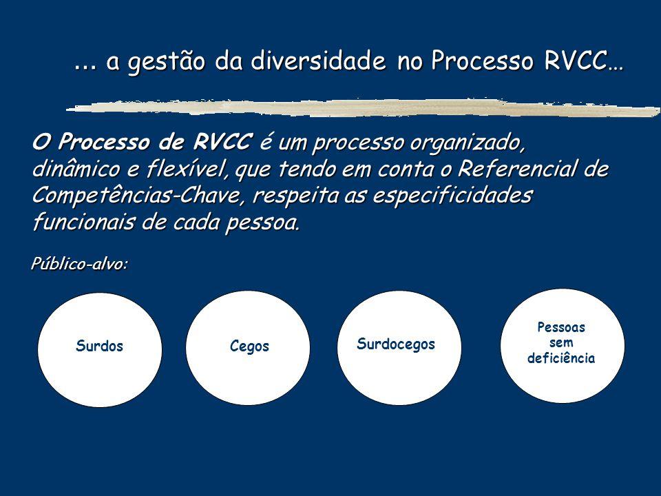 … a gestão da diversidade no Processo RVCC… … a gestão da diversidade no Processo RVCC… O Processo de RVCC um processo organizado, dinâmico e flexível