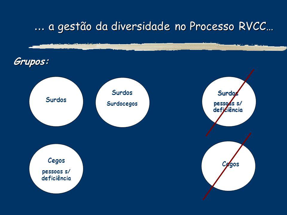 … a gestão da diversidade no Processo RVCC… … a gestão da diversidade no Processo RVCC… Grupos: Surdos Surdocegos Cegos Surdos pessoas s/ deficiência