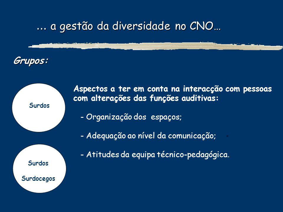 … a gestão da diversidade no CNO… … a gestão da diversidade no CNO… Grupos: Surdos Surdocegos Aspectos a ter em conta na interacção com pessoas com al