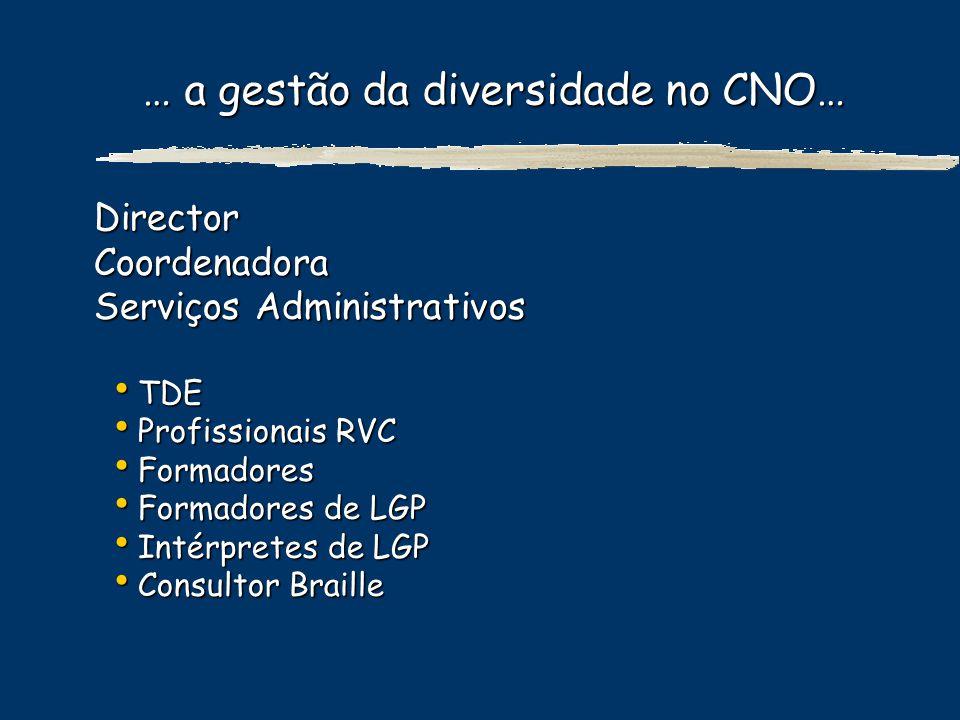 … a gestão da diversidade no CNO… DirectorCoordenadora Serviços Administrativos TDE TDE Profissionais RVC Profissionais RVC Formadores Formadores Form