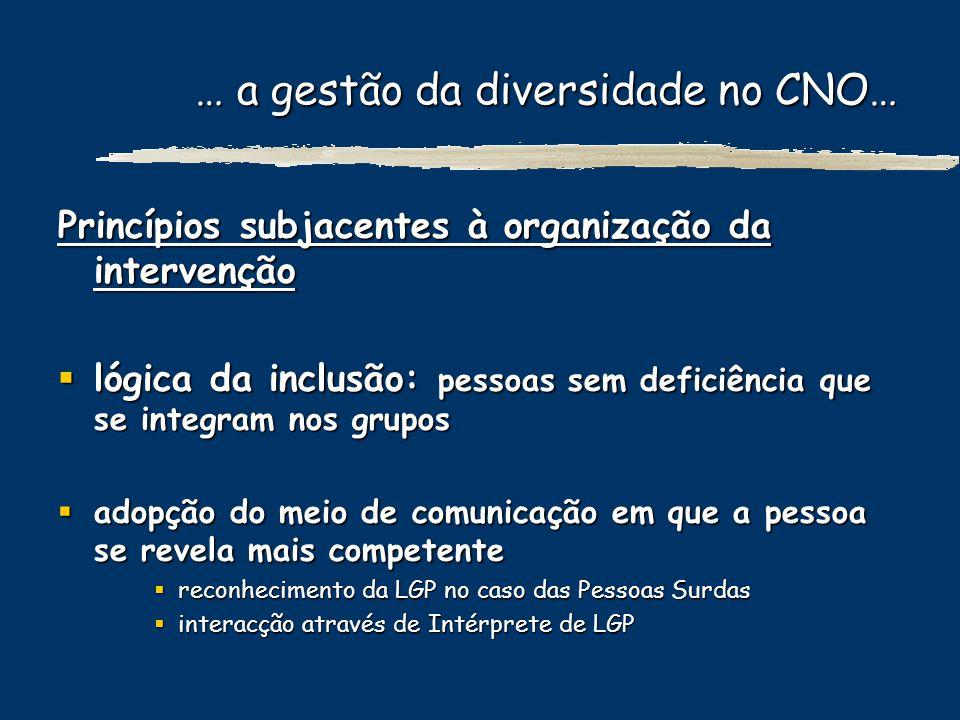… a gestão da diversidade no CNO… Princípios subjacentes à organização da intervenção lógica da inclusão: pessoas sem deficiência que se integram nos