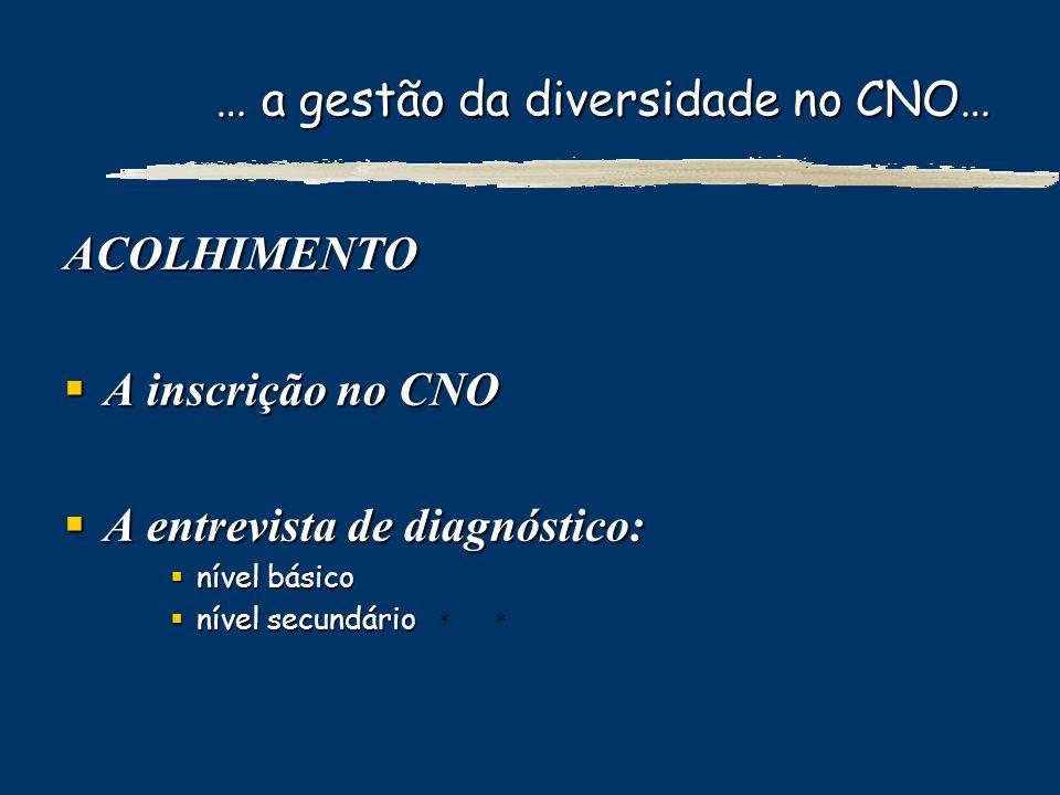 … a gestão da diversidade no CNO… ACOLHIMENTO A inscrição no CNO A inscrição no CNO A entrevista de diagnóstico: A entrevista de diagnóstico: nível bá