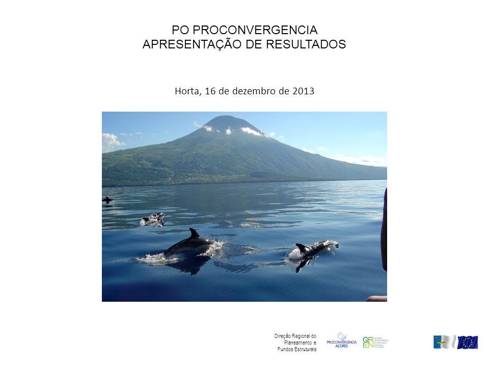 PO PROCONVERGENCIA APRESENTAÇÃO DE RESULTADOS Horta, 16 de dezembro de 2013 Direção Regional do Planeamento e Fundos Estruturais