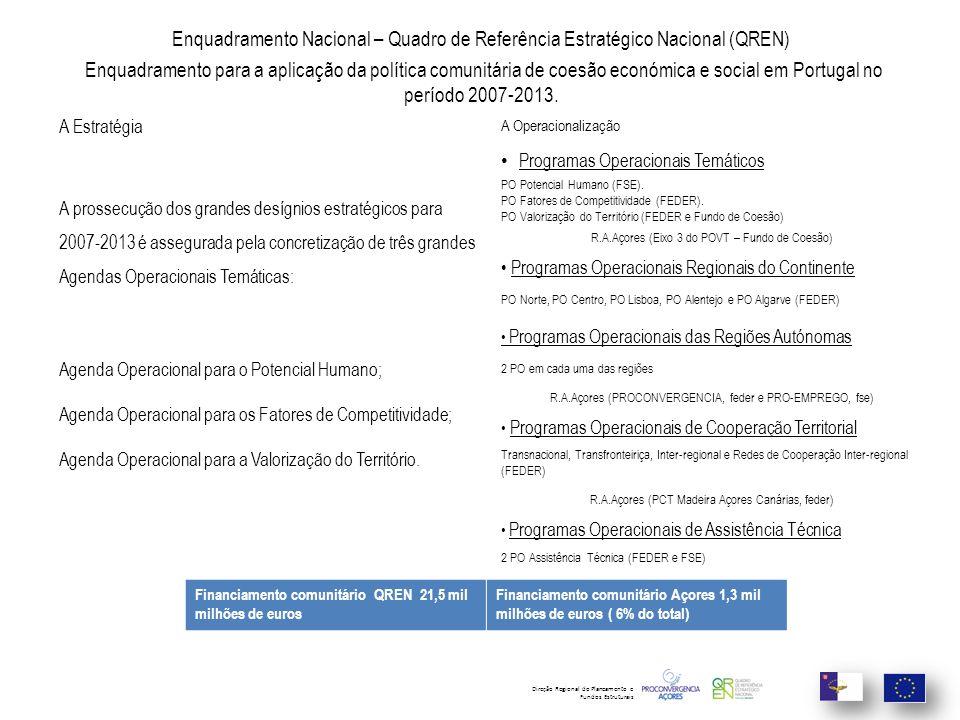 Enquadramento Nacional – Quadro de Referência Estratégico Nacional (QREN) Enquadramento para a aplicação da política comunitária de coesão económica e social em Portugal no período 2007-2013.