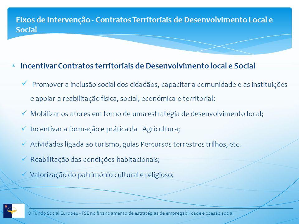 O Fundo Social Europeu - FSE no financiamento de estratégias de empregabilidade e coesão social Incentivar Contratos territoriais de Desenvolvimento l